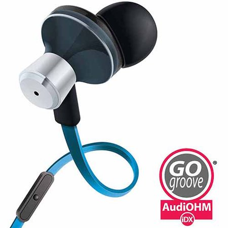 07 Isolation Earbud - GOgroove audiOHM iDX Stereo Earbuds with Hands-Free Microphone, Noise Isolation and Included Velvet Carrying Bag, Blue