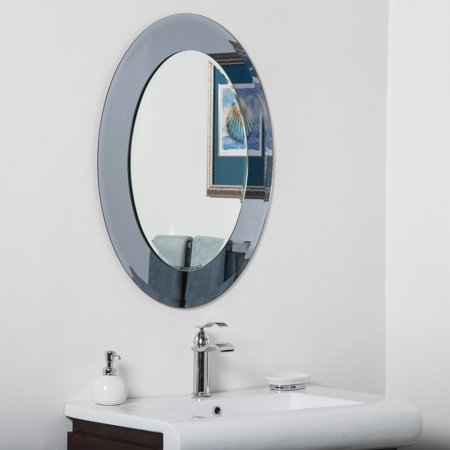 Decor wonderland cayman glass beveled round bathroom mirror grey silver for Beveled glass bathroom mirror