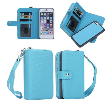 Iphone 6s Plus Case,Mignova  Iphone 6s Plus Wallet Case 2IN1 Detachable Back Case Leather flip Wallet Bag Pouch Case Cover for Iphone 6 Plus and Iphone 6s Plus (Blue)