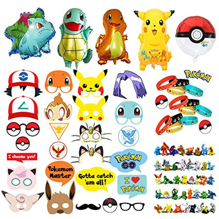 80s Themed Birthday Party (Pokemon Party Supplies Bundle Favors Pack 24 Figures,12 Bracelets, 5 Balloons and 26 Photo Booth Props Suitable for Birthday Theme)