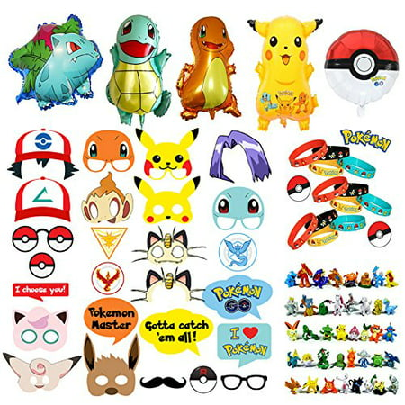 Pokemon Party Supplies Bundle Favors Pack 24 Figures,12 Bracelets, 5 Balloons and 26 Photo Booth Props Suitable for Birthday Theme - 1 Birthday Theme
