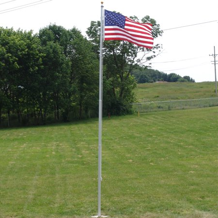 Super Tough Heavy Duty 20ft Residential Flagpole with US Made Nylon American
