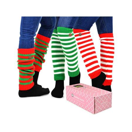f3d6074b6 TeeHee Socks - TeeHee Gift Box Women s Fashion Leg Warmers 3-Pack Assorted  Colors (Candy Cane Stripes) - Walmart.com
