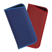 2 Pack Soft Eyeglass Slip Case For Women & Men, Faux Leather, Medium, Blue/Red