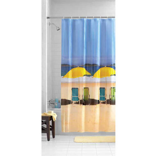 Mainstays Beach Front Photoreal PEVA Shower Curtain