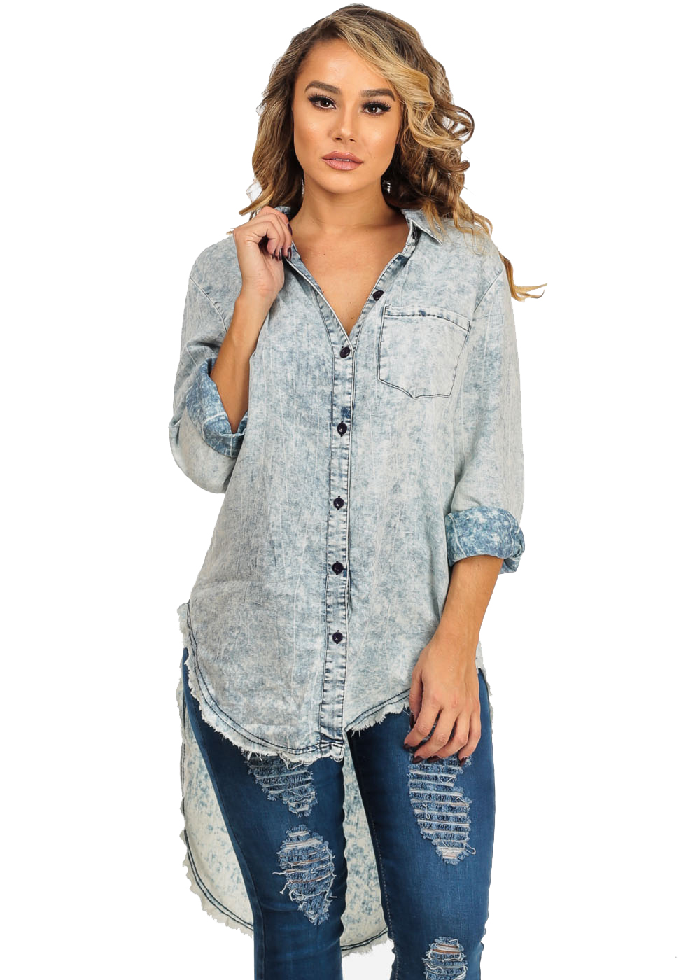 Modaxpressonline Womens Juniors Jean Denim High Low Button Down