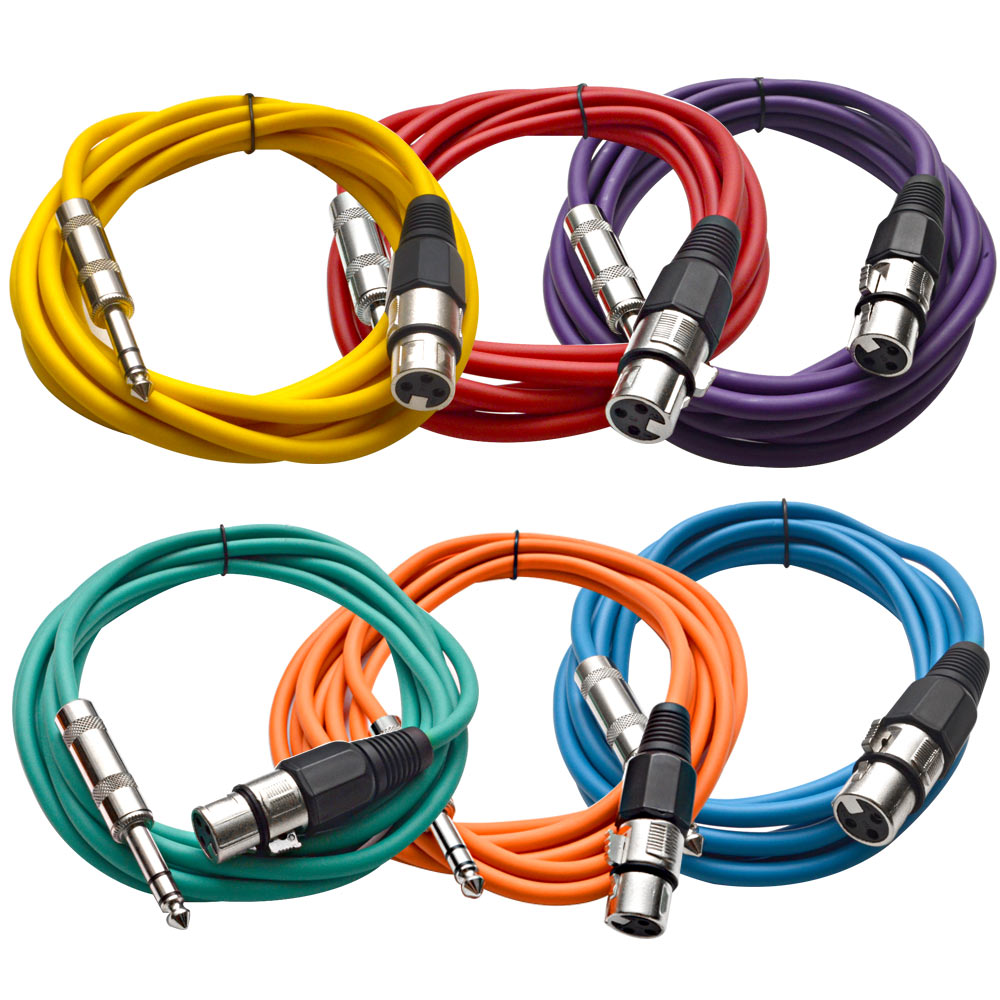 "Seismic Audio SEISMIC (6) Color 1/4"" TRS  XLR Female 10' Patch Cables Multi-Colors - SATRXL-F10BGORYP"
