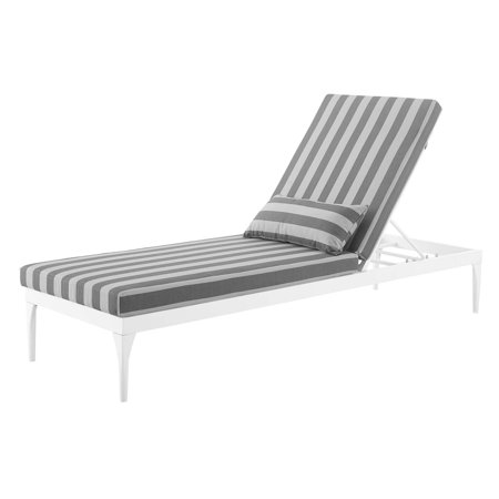 Modern Contemporary Urban Design Outdoor Patio Balcony Garden Furniture Lounge Chair Chaise, Fabric Metal Steel, White Grey Gray ()