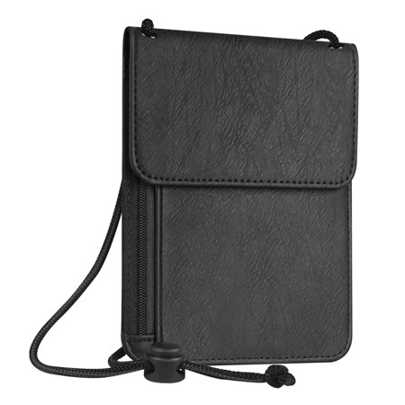 Fintie Passport Holder Neck Pouch [RFID Blocking] Premium PU Leather Travel Wallet, Black ()