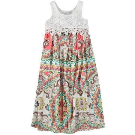 Bonnie Jean Girls 7 16 Lace Print Maxi Dress  Multi 8