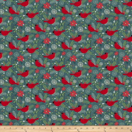 Swedish Type (Swedish Christmas Red Cardnials Teal Fabric by The Yard, Fabric Type: 100% Cotton By Northcott)