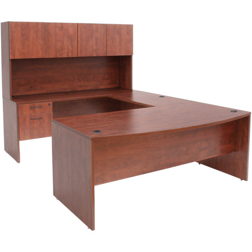 """Regency 71"""" Bow Front U-Desk with Box File Locking Pedestals and 4-Door Hutch"""