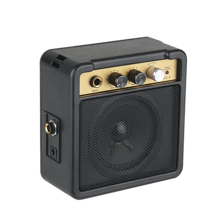 Mini Guitar Amplifier Amp Speaker 5W with 6.35mm Input 1/4 Inch Headphone Output Supports Volume Tone Adjustment Overdrive ()