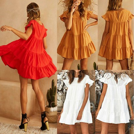 Womens Ladies Dresses Summer Short Sleeve Mini Tank Dress Sweet Loose Beach Sundress - Dress Sweet 17