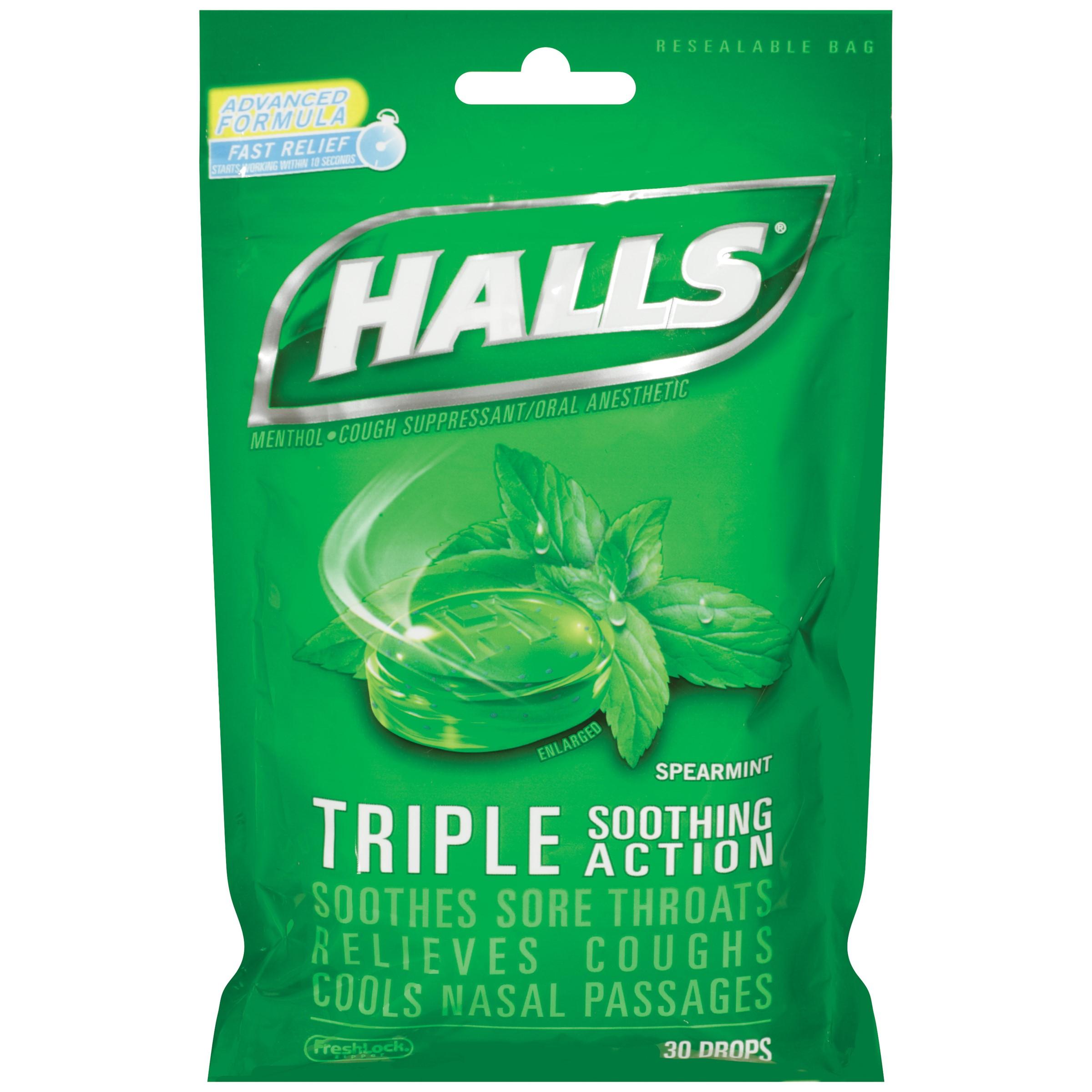Halls Drops, Spearmint, 30 Ct