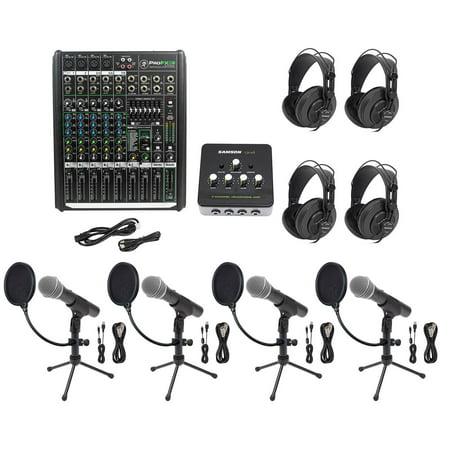 Podcast Studio Bundle w/Mackie 8-Ch Mixer+(4) Mics+Stands+(4) Samson
