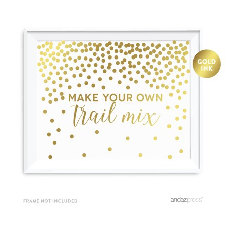 Make Your Own Halloween Table Decorations (Metallic Gold Confetti Polka Dots 8.5x11-inch Party Sign, Make Your Own Trail Mix Reception Dessert Table Sign,)
