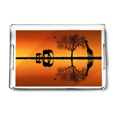 Safari Scene - Elephant & Giraffe Silhouettes at Sunset - Lantern Press Photography (Acrylic Serving (Giraffe Tray)