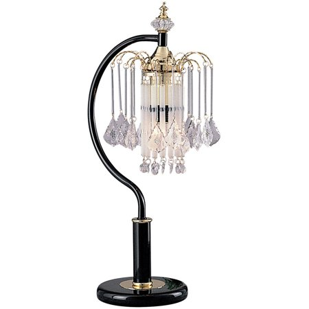 Ok Lighting Black Tablelamp With Crystal Shade