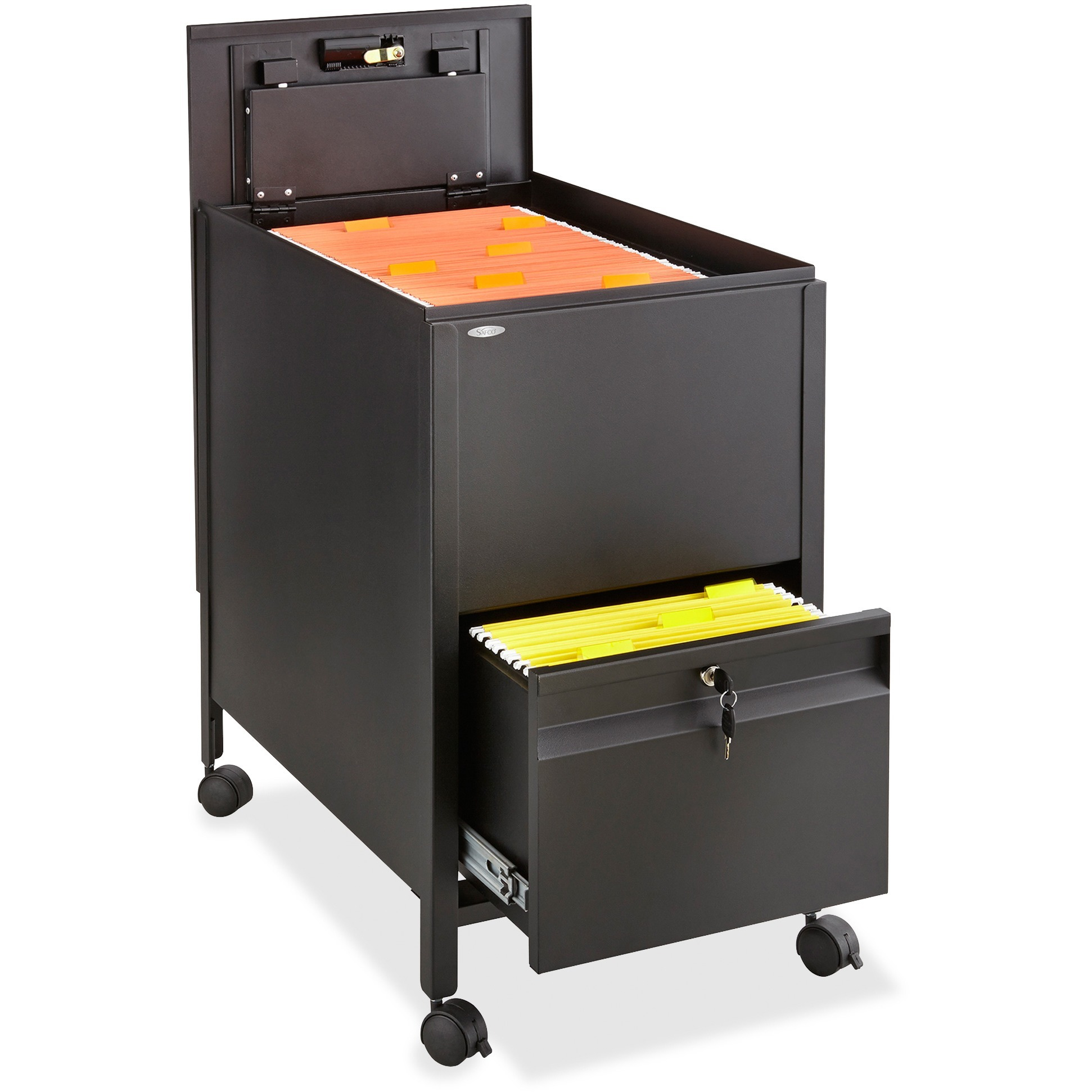 Safco 1 Drawers Filing Cart Lockable , Black