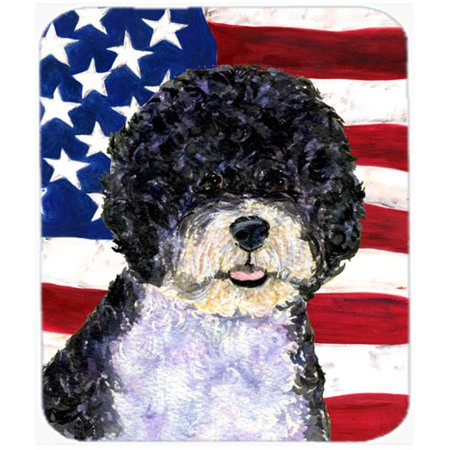 Carolines Treasures SS4053MP Usa American Flag With Portuguese Water Dog Mouse Pad, Hot Pad Or Trivet - image 1 de 1