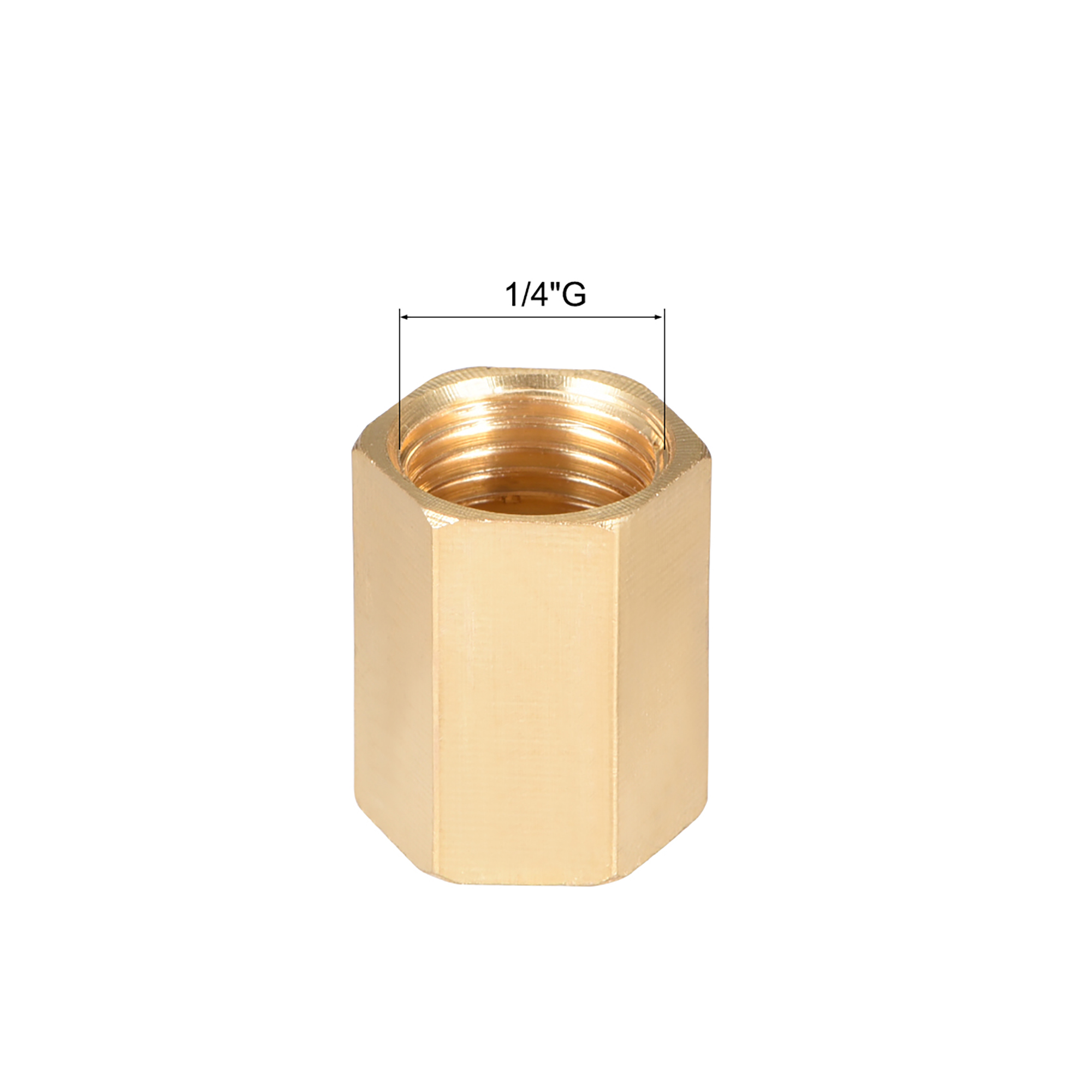 """Brass Pipe Fitting, 1/4"""" G Female Thread Straight Brass Hex Rod Pipe Fitting Coupling - image 2 de 4"""