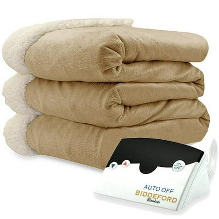 Biddeford Blankets Micromink Sherpa Electric Heated Blanket Beige Walmart Com