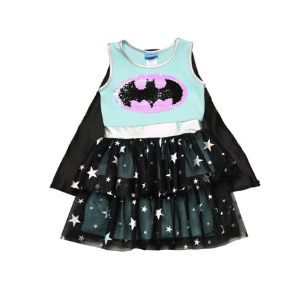 Girls Batgirl Superhero Halloween Costume Dress Cape Cosplay 2-Way Sequin Logo