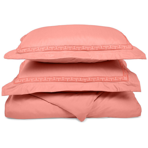 Charlton Home Warrenville 3 Piece Embroidered Reversible Duvet Cover Soft Set