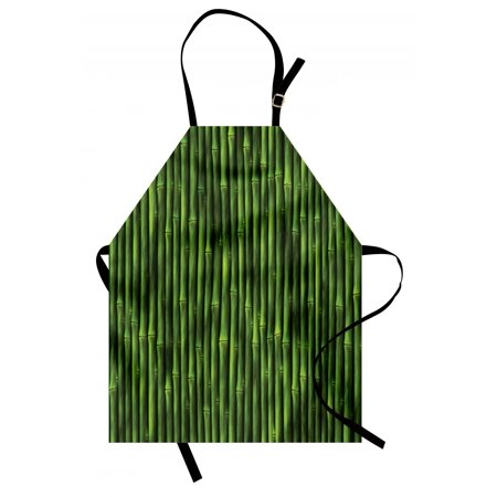 Bamboo Apron Bamboo Stems Pattern Tropical Nature Inspired Background Print Asian Wildlife Zen Theme, Unisex Kitchen Bib Apron with Adjustable Neck for Cooking Baking Gardening, Green, by Ambesonne