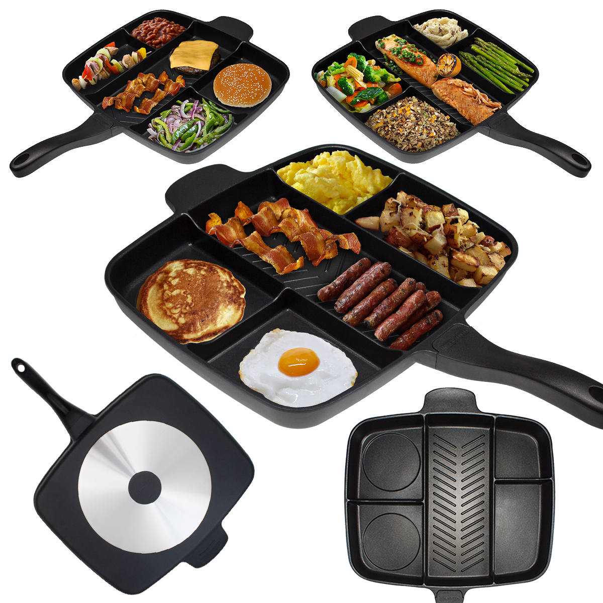 "The Master Pan Non-Stick Divided Meal Skillet 15"" Grill Fry Oven/Dishwasher Safe"