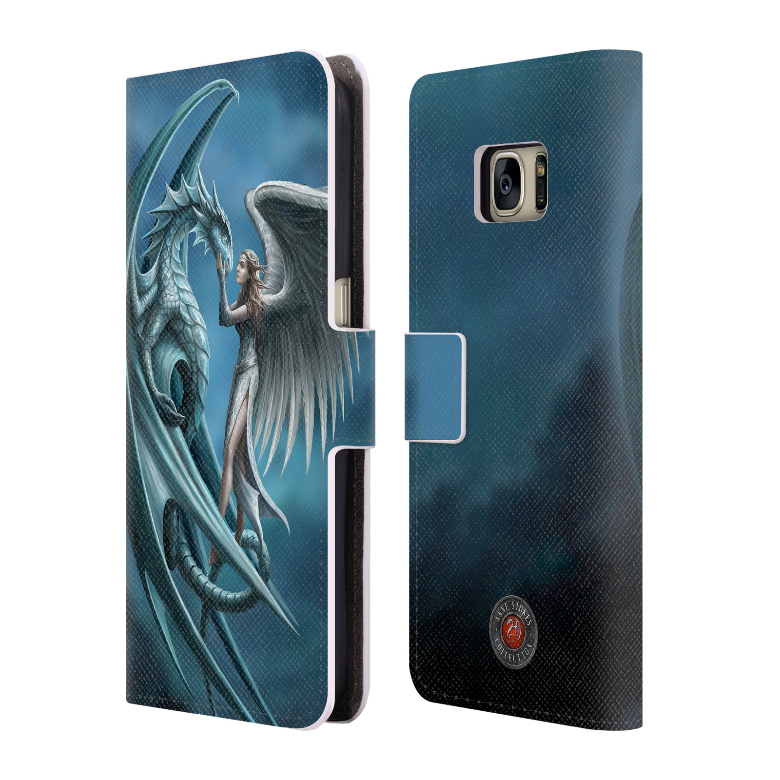 OFFICIAL ANNE STOKES DRAGON FRIENDSHIP LEATHER BOOK WALLET CASE COVER FOR SAMSUNG PHONES 1