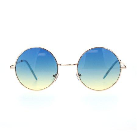 Mens Oceanic Gradient Hippie Round Circle Lens Metal Rim Sunglasses Gold Blue Yellow ()