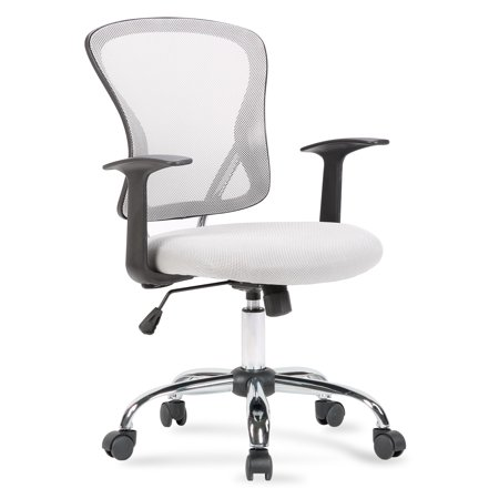 Belleze Mesh Mid Back Office Chair Adjustable Padded Seat, Gray ()