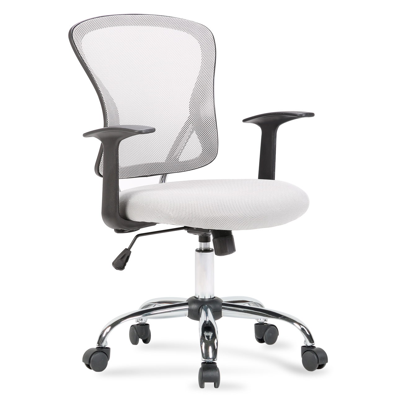 Belleze Mesh Mid Back Office Chair Adjustable Padded Seat, Gray