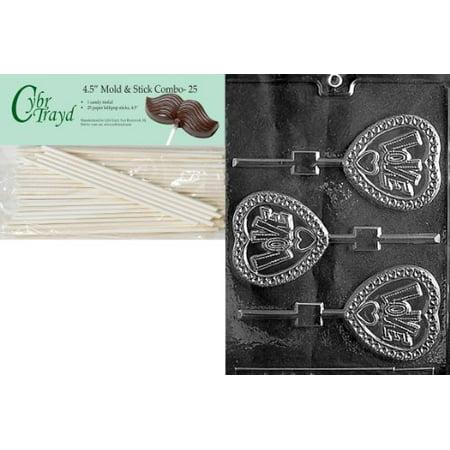 Cybrtrayd 45St25-V127 Love Heart Pop Valentine Chocolate Candy Mold with 25 4.5-Inch Lollipop Sticks