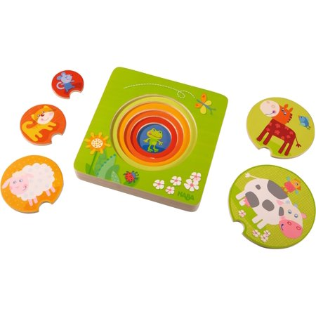 - HABA On the Farm 5 Piece Wooden Puzzle with Layered Disks for Ages 12 Months and Up