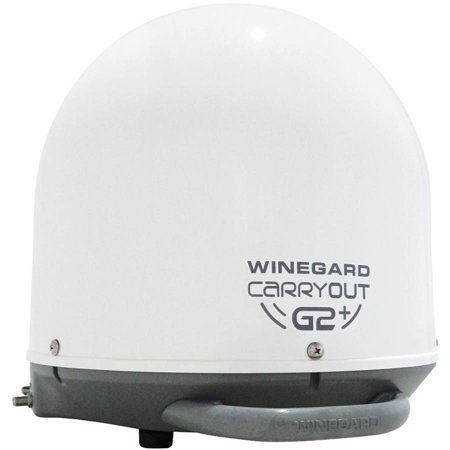 Winegard GM-6000 Carryout G2+ Automatic Portable Satellite TV Antenna with Power Inserter, White