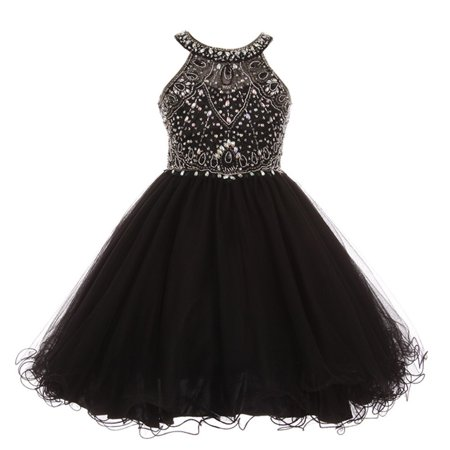 Girls Black Rhinestone Halter Neck Dazzling Junior Bridesmaid Dress - Black Girl Dresses