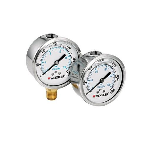 Weksler Liquid Filled Gauges w/Stainless Steel Case - BY12YPH4LW SEPTLS006BY1...