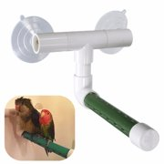 Birds Shower Perch Parrot Budgie Wall Suction Cup Toys Paw Grinding Stand