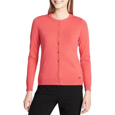 New  4615-2 Calvin Klein Pink Watermelon Women Cardigan Button Down Sweater, XL, $69 (Tommy Hilfiger Sweater Red Women)