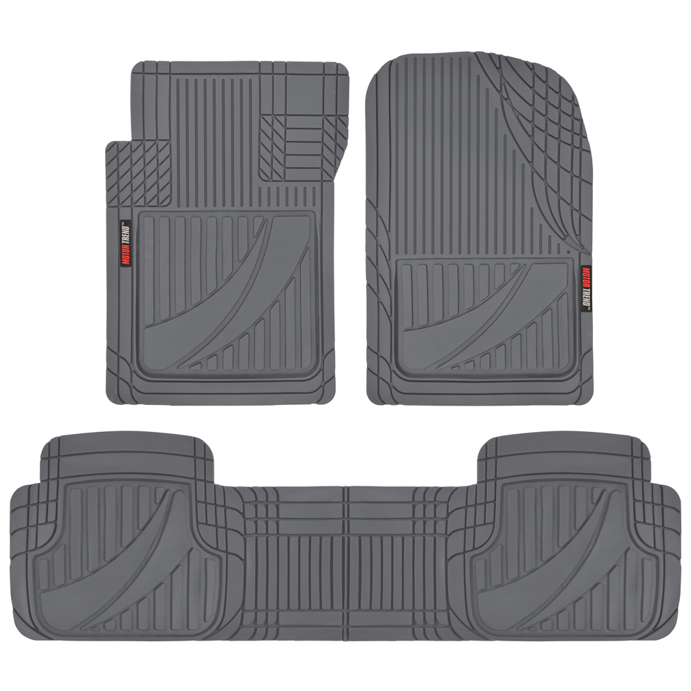 Motor Trend FlexTough Advanced Performance Mats - 3pc Rubber Floor Mats for Car SUV Auto All Weather Plus - 2 Front & Rear Liner
