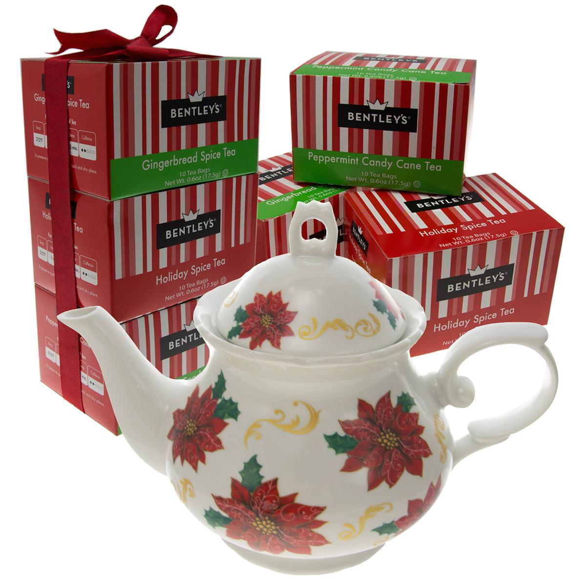 Bentley's Bulk Lot Gift Set of 6 Boxes Black Tea Bags & White Ceramic Porcelain Flower Pattern Teapot Christmas