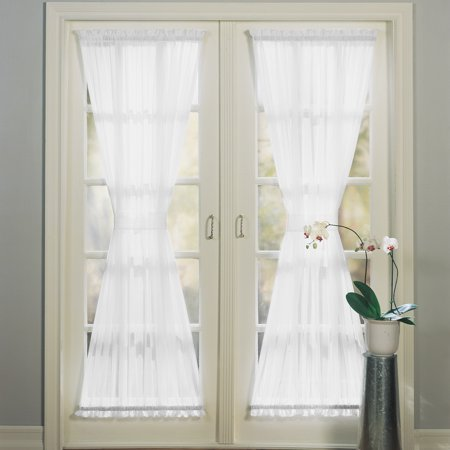 No. 918 Emily Sheer Voile Door Curtain Panel - Ribbon Door Curtain