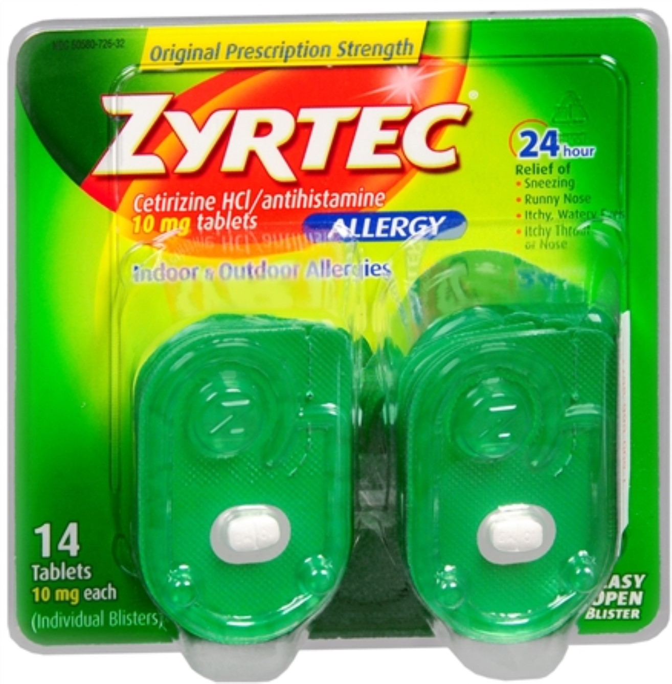 Zyrtec Allergy 10 mg Tablets Blister Pack 14 Tablets (Pack of 2)