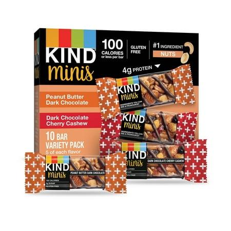 Kind Mini, Peanut Butter Dark Chocolate and Dark Chocolate Cherry Cashew, 10 Ct, Gluten Free, 100