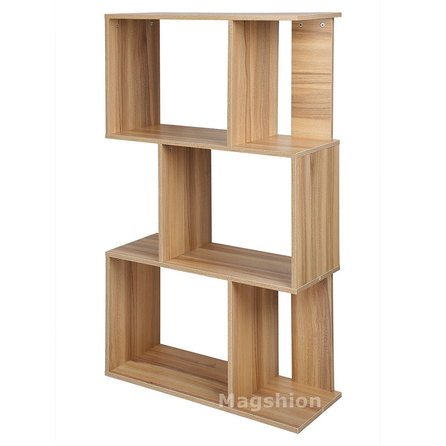 Magshion Modern Wood Bookcase Storage Shelving Stand Bookshelf Furniture Home Decor Office 3 Tier