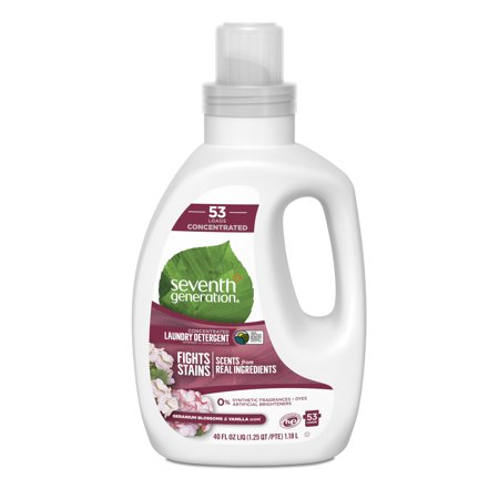 Seventh Generation Concentrated Liquid Laundry Detergent for a powerful clean Geranium Blossom & Vanilla plant-based 40 oz