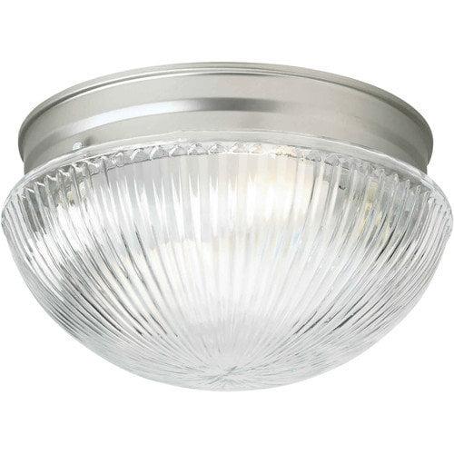 Forte Lighting 1 Light Flush Mount - Ribbed Glass